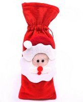 Wholesale Santa Christmas Wrap - Red Wine Bottle Cover Bags Christmas Dinner Table Decoration Home Party Decors Santa Claus