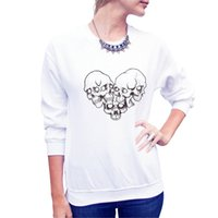 Wholesale Heart Print Sweater - Women Autumn and Winter Sweater Women Street Style Heart Shape Skull Pattern Cotton Long Sleeve T-shirt Free Shipping