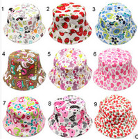 Wholesale Hot Sale Colors Children Bucket Hat Casual Flower Sun Printed Basin Canvas Topee Kids Hats Baby Beanie Caps
