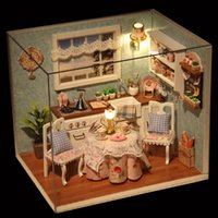 Wholesale Diy House Model - Wholesale-DIY Wooden Doll House Toys Dollhouse Miniature Box Kit With Cover And LED Furnitures Handcraft Miniature Dollhouse Kitchen Model