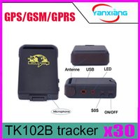 Wholesale Real Time Gps Gsm Gprs - 30pcs TK102B + Hard Wired Car Charger ! Mini Global Real Time 4 Bands GSM GPRS Personal GPS Tracking System ZY-DH-05