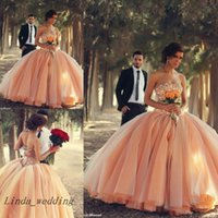Wholesale Peach Tulle Wedding Dresses - Free Shipping Peach Color Sweetheart Beads Crystals Wedding Dress Tulle Ball Gown Robe De Mariage Long Wedding Bridal Gowns