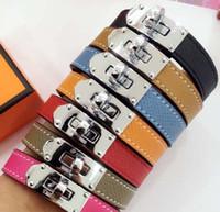 Wholesale bracelet h resale online - H single circle cross lines palm lines leather bracelets round buttons bracelets star Bracelets