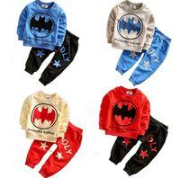 Wholesale Boys Batman Tops - baby boy clothes boys 2 pieces outfit Spider-Man Batman clothing kids sport set children cotton tees top+pants 2-7 years 1set pack CQZ038