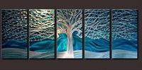 Wholesale Huge Wall Art Tree - 100% Hand-painted High Quality Huge Beautiful Modern Abstract Tree Oil Painting on Canvas Home Wall Decor Art Paintings 5pcs set B89