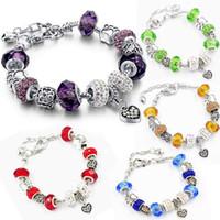 Wholesale Christmas Murano - Silver Plated Heart Love Blue Murano Charm Fit Pandora Bracelet for Women Christmas Eve Bracelet