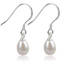Wholesale hook freshwater pearl earring - Elegant 925 Silver Hook Dangle Pearl Earrings Of 100% Natural Freshwater Drop Earrings For Women Girl Wedding Gift