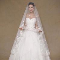 Wholesale White Wedding Vail - 2016 One Layer Wedding Veils Floral Appliques Lace Bridal Veil 3 meters Wedding Vail Long Cathedral Wedding Veil