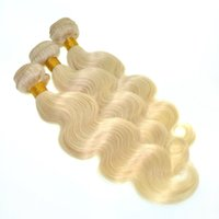 Wholesale Bleaching Machine - Platinum Blonde Indian Hair Extensions Body Wave Wavy Color 613 Bleach Blonde Indian Human Hair Weave 3 Pieces Lot Tangle Free