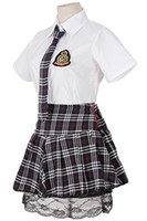 Frauen Cosplay Kleid Schule Mädchen Uniform Red Plaid Plissee Black Lace Skirt
