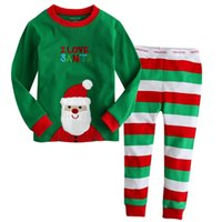 Wholesale 2016 Spring Autumn Baby Girls Christmas Outfits Home Wear Clothing Set Children T shirt Pants Kids Santa Claus Pajamas Clothes Suits