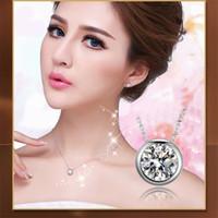 Wholesale Cheap Cz Pendants - Wholesale-HOTTEST 2016 Wholesale Jewelry Top Quality Cheap Round CZ Diamond Crystal Pendant Statement Necklace x21