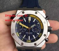 Wholesale Mens Mechanical Chronograph Divers Watches - Luxury Mens Business Climbing Diver Chronograph Watch 26703 JF Factory Best Edition Blue Dial 42mm on Blue Rubber Strap 3126 Wristwatches