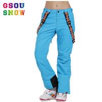 Wholesale Snow Ski Board - Wholesale- gsou snow ski pants bretels snowboard board winter trousers clothes womens suspenders pantolon sports women pantalon femme woman