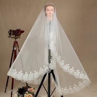 Wholesale mantilla veil sale for sale - Group buy New Top Quality Fashion Designer Best Sale Romantic Waltz White Ivory Lace Applique veil Mantilla Veil Bridal Head Pieces