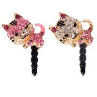 Wholesale Cat Earphone Plugs - Wholesale-2016 New Arrival Korea Full Diamond Jewelry Sleepy Little Cat Phone Dust Plug For iPhone All 3.5mm Cell Phone Earphone Plug