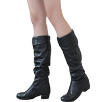Wholesale Warm Sexy Winter Boots - Winter autumn new style mid-calf women low heels sexy warm solid lady folds female brand leather shoes solid snow long boots