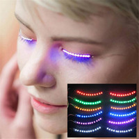 Led Wimpern Licht Doppel Augenlid Paste Luminous False Wimpern Lampe Button Led Wimpern Halloween Geschenk Glowing Eyes Nightclub