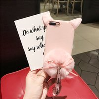 Wholesale Beauty Phone Rhinestones - For iphone 6 6s 7 8 plus Beauty Cute Luxury pink Cat bow pompom fur ball diamond tassel soft phone case cover