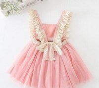 Wholesale Tulle Slips - Kids Girls Tulle Lace Bow Party Dresses 2 color Baby Girl TuTu Princess Dress Babies Korean Style Suspender Dress girls slip dresses B001