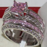 anéis de diamantes rosa simulado venda por atacado-Eternity Lady 925 Sterling Silver Square Simulado Rosa Diamante CZ Pavimentada Pedra 2 Wedding Band Anel Conjuntos de Jóias para As Mulheres