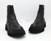 Wholesale short leather cowboy boots - Retro wave of men's leather Chelsea boots increased short dark motorcycle boots heavy-bottomed ROCK genunie leather shoes