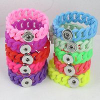 Wholesale Costume Jewelry Sets For Sale - Hot sales MUlti colors Silicone Charm Bracelets For Men Women Cuff Pulseras Button Snap Bracelets & Bangles Costume Jewelry Gifts DHB516