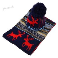 Wholesale Men Scarf Knit Pattern - Wholesale-Stylish New Women Knitted Scarf Hat Ladies Sweet Deer Pattern Winter Warm Thickening Long Scarf Shawl + Ski Hat Set 29