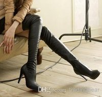 Wholesale Cheap Long Leather Boots - New black leather over the knee high heels boots women sexy slim fit thigh long boots 2014 winter cheap boots size 35 to 39