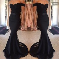 Wholesale occasion dress - Black Prom Dresses Mermaid Lace Off The Shoulder Bodycon Evening Gowns Soft Elastic Satin Special Occasions Dress With Sash