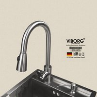 Wholesale Tap New Model - Wholesale- VIBORG Deluxe 304 Stainless Steel Pull out Spray Kitchen Faucet Mixer Tap Pullout Sprayer Kitchen Faucet satin nickel New Model