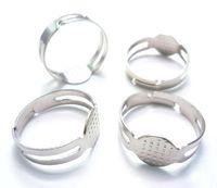 Wholesale Pad Ring Base - 400pcs Rings Plain Base Findings DIY Supplies Pad Jewelry Silver tone 8mm pad