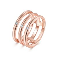 Wholesale Three Stone Wholesale Settings - Wholesale 18K Rose Gold Plated Three Round Rings Set with Clear Cubic Zircon For Woman Party Finger Wedding Ring New R118