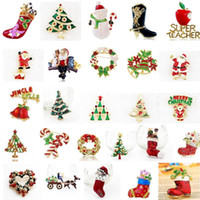 Wholesale Christmas Snowman Crystal Pins - Hot Sale Christmas 26 Style Brooch Pin Santa Claus And Boots Brooches Cane Wreath Snowman Christmas Tree Brooches Jewelry Gift