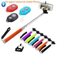 Wholesale Clip Bluetooth Camera - Extendable Selfie Monopod Z07-1 selfie stick Tripod+ Bluetooth Remote Control Camera Shutter +phone Clip Handheld Wireless Self Timer Sticks