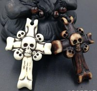 Wholesale Wholesale Bone Necklace - Hot ! 24pcs New European and American Fashion Imitation Bovine Bone Skull Cross Pendant Wax Cord Necklace