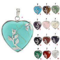 Wholesale Diy Gemstone Pendant - Reiki Gemstone Healing Peach Heart Pendant Natural Stone With Alloy Rose Flower For Women Men DIY Charms