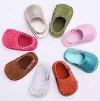 Wholesale Soft Barefoot Baby Sandals - 2016 tassel PU soft bottom newborn Infant baby barefoot Shoes sandals children casual indoor walking toddler sandals