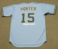 Personalizzato DARRELL PORTER Milwaukee Brewers 1975 Majestic Cooperstown Away Baseball Jersey Retro Mens Jerseys