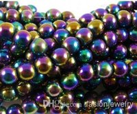 Wholesale Gold Loose Beads - hot 8mm 10mm 200pcs lot silver gold plated multicolor Magnetic Hematite Round Bead Beads Free Shipping Loose ball Bead Shamballa Findings