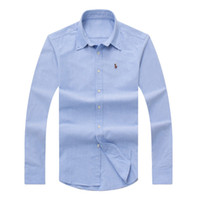 Wholesale Turn Down Dress - Hot Sale 2017 autumn winter men's long-sleeved Dress shirt men's casual POLO small horse shirts fashion USA Brand RL Oxford social shirt