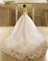 Lace Short Beach Wedding Dress online - sparkly wedding dresses 2017 cathedral train crystal beading ball gown strapless neckline tulle wedding gowns bridal gowns