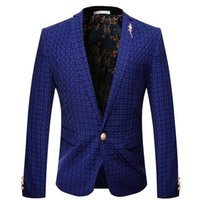 Wholesale Trajes Novio Tuxedo - Men's Suits Tailor Suit Blazer New Man Blue Plaid Suit Man Slim Casual Suit Tuxedo 2017 Custom Homme Trajes De Novio HombreA2346