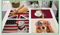 ingrosso tabelle uk-Animal serie di tovagliette isolanti in cotone e lino La personalità USA e UK bandiera stampata animali domestici stuoia da tavola Home Decor