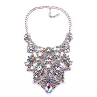 Wholesale Womens Necklace Silver Chunky - Vinatge Luxury Teardrop Rhinestone Chunky Bib Statement Pendant Necklace for Womens Crystal flower Choker Necklaces wholesale