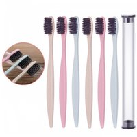 Wholesale Toothbrush Tube - Soft Fur Toothbrush Wheat Straw Non Slip Long Handle Toothbrushes With Clear Round Tube Bathroom Supplies Eco Friendly 0 78bb B