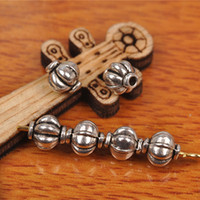 Wholesale Tibetan Style Necklace Wholesale - Hualu 7265 500 pieces 6*6mm pumpkin Beads Retro style pendant Connector 3D Horse Tibetan Silver Jewelry Making Fingding necklace Bracelet