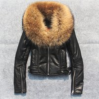 Atacado- Top Quality Black Yellow Red Fashion Sheepskin Casaco de pele de Raccoon