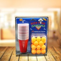 Wholesale Fun Drinking Games - Wholesale- Board Game BEER PONG KIT 24 Ping Pong Balls and 24 Red Solo Cups Fun Party Drinking Game