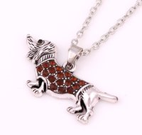 Wholesale Dachshund Pendant - New Dachshund Dog Pendant Crystal Necklace Mixed 4colors Vintage Silver Animal Necklace Lovely Creative Necklace Jewelry Free Shipping